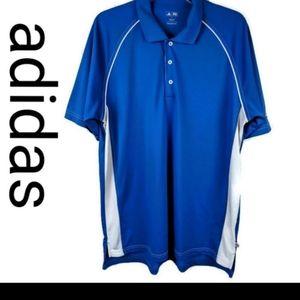 NWOT Men's Adidas Blue & White Golf Polo Shirt, L